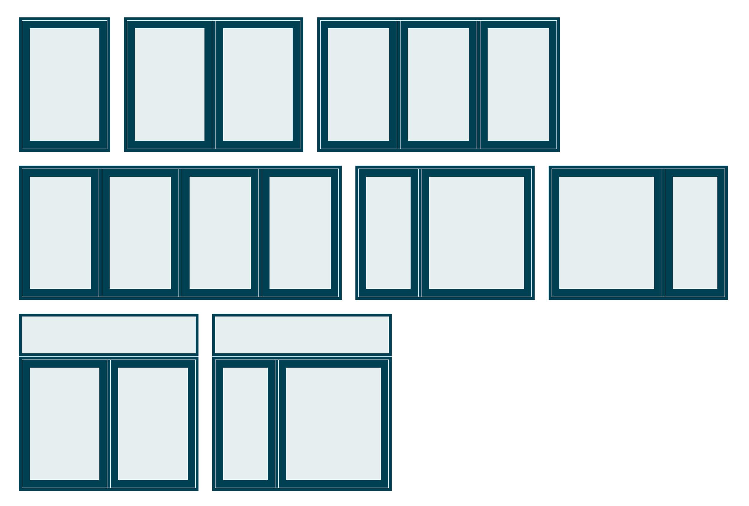 Configurations suggérées fenêtres à battant