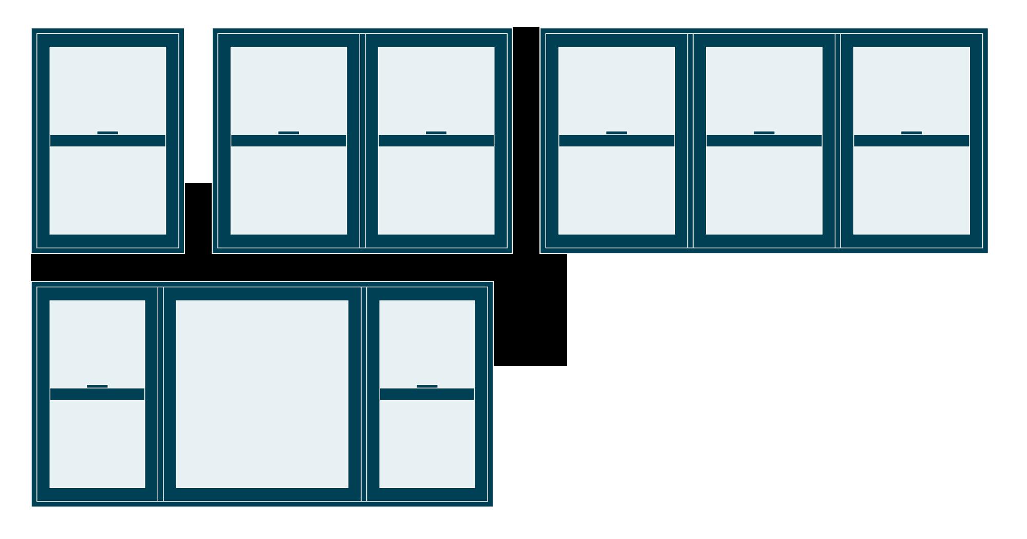 Configurations suggérées fenêtres à guillotine