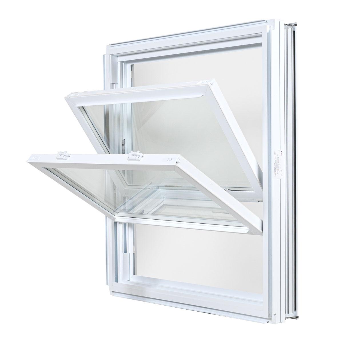 Fenêtre à guillotine double hybride - Portes et Fenêtres Vallée